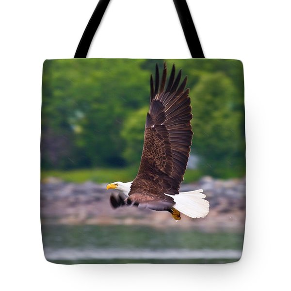 Fishing In The Rain Tote Bag by Mike  Dawson