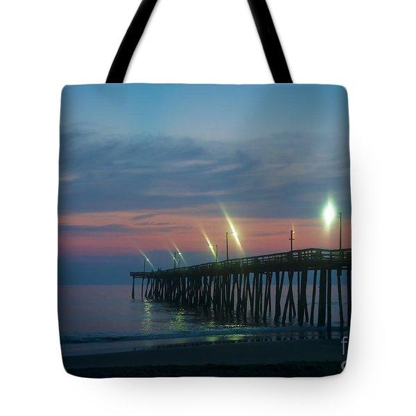 Fishing Pier Sunrise Tote Bag by John Greim