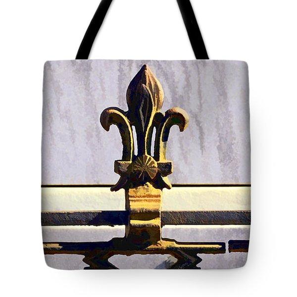 Fleur De Lis Painted Tote Bag by Kathleen K Parker