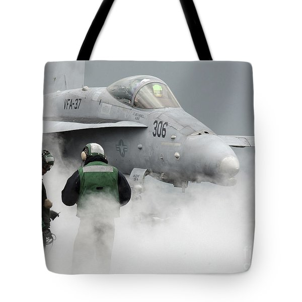 Flight Deck Personnel Are Surrounded Tote Bag by Stocktrek Images