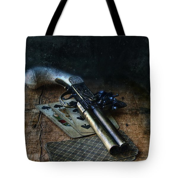 Flint Lock Pistol And Playing Cards Tote Bag by Jill Battaglia