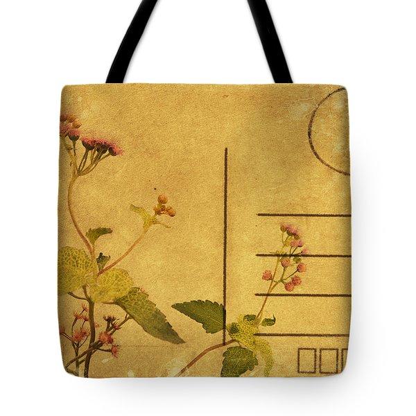 Floral Pattern On Postcard Tote Bag by Setsiri Silapasuwanchai