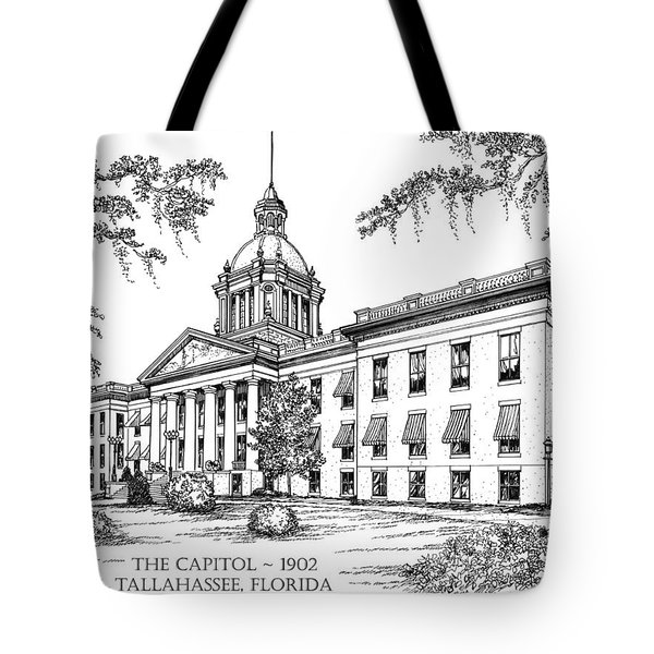 Florida Capitol 1902 Ink Tote Bag by Audrey Peaty