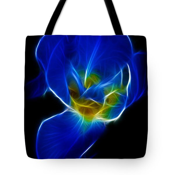 Flower - Coral Blue - Abstract Tote Bag by Paul Ward