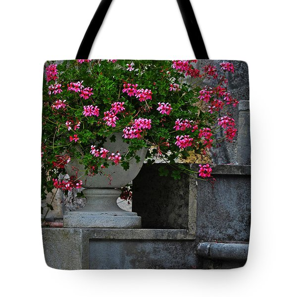 Flowers On The Steps Tote Bag by Mary Machare
