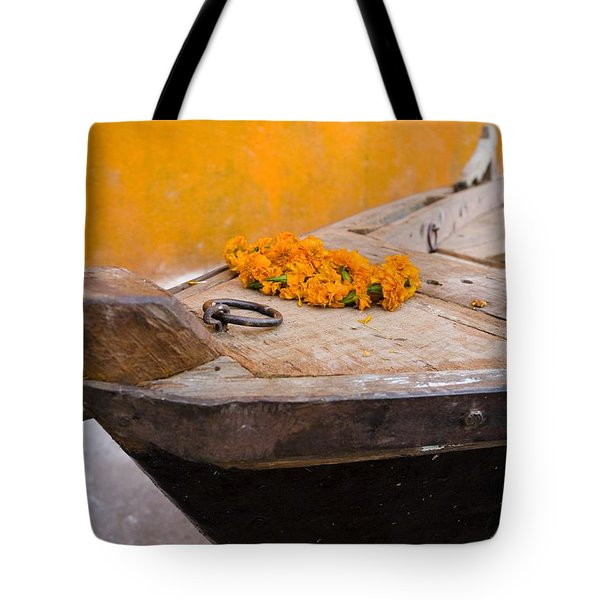 Flowers On Top Of Wooden Canoe Tote Bag by David DuChemin