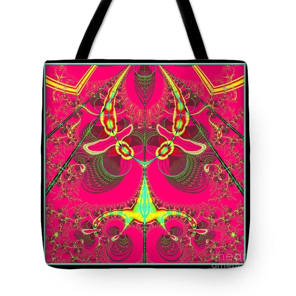 Fluorescent Alien Lady Bug Fractal 70 Tote Bag by Rose Santuci-Sofranko