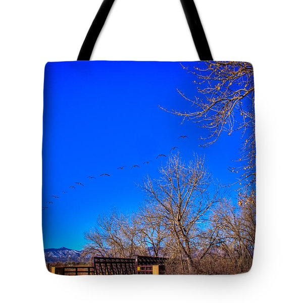 Flying Over South Platte Park Tote Bag by David Patterson