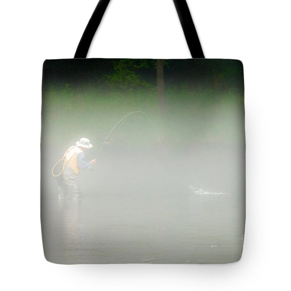 Fog Fishing Tote Bag by Cindy Tiefenbrunn