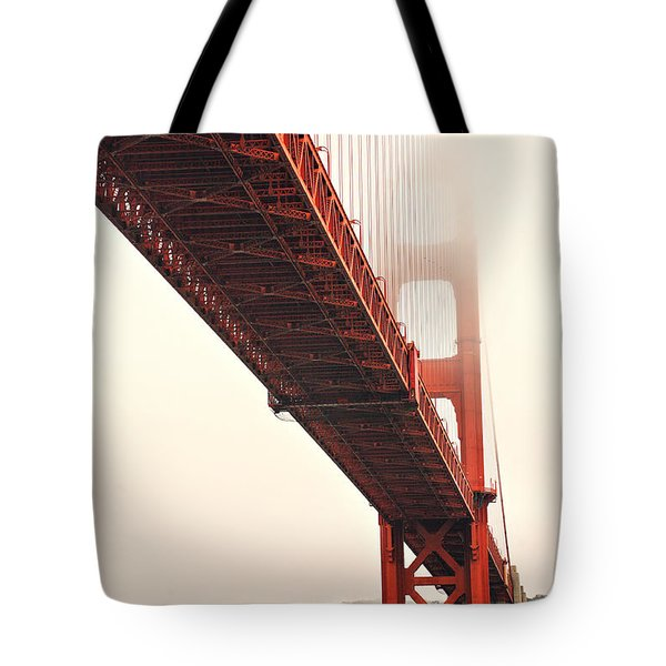 Fog lifting at the Golden Gate Tote Bag by Cheryl Young