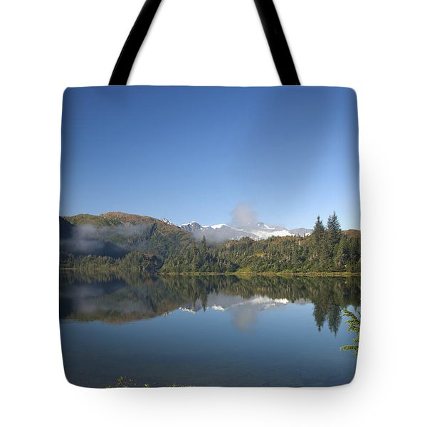 Fog Over Shrode Lake II Tote Bag by Gloria & Richard Maschmeyer