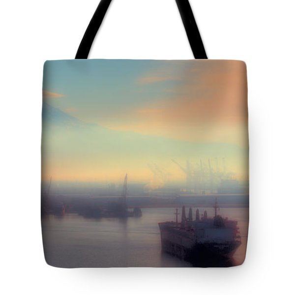 Fog Over The Tide Flats Tote Bag by David Patterson