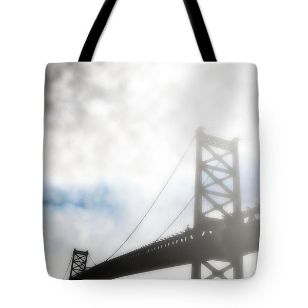 Foggy Ben Franklin Bridge - Philadelphia Tote Bag by Bill Cannon