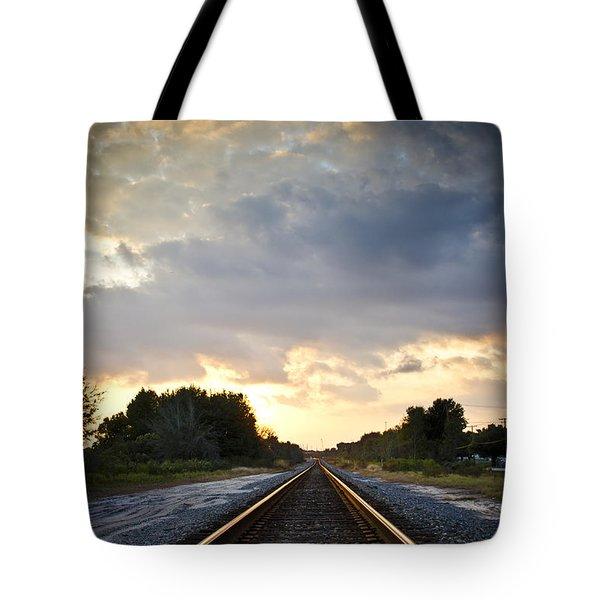 Follow the Tracks Tote Bag by Carolyn Marshall