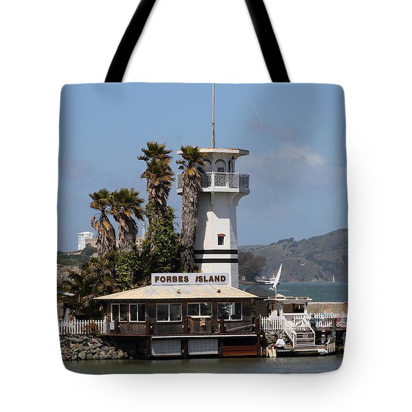 Forbes Island Restaurant With Alcatraz Island In The Background . San Francisco California . 7d14258 Tote Bag by Wingsdomain Art and Photography