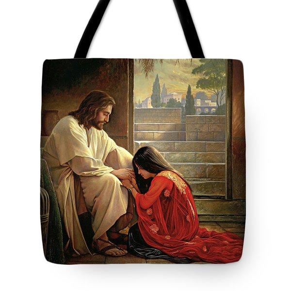 Forgiven Tote Bag by Greg Olsen