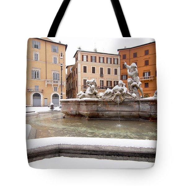 Fountain Of Neptune Tote Bag by Fabrizio Troiani