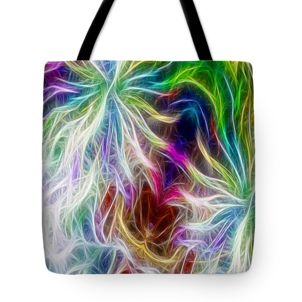 Fractal Flowers With Filter Effect - Vertical Tote Bag by Gina Lee Manley