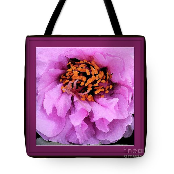 Framed In Purple - Abstract Floral Tote Bag by Carol Groenen