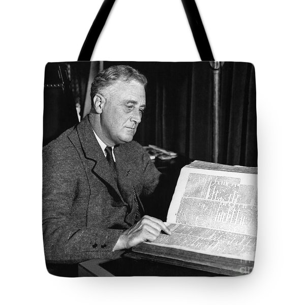 Franklin D. Roosevelt, 32nd American Tote Bag by Photo Researchers