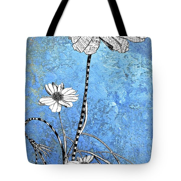 French Floral on Blue Abstract Tote Bag by Anahi DeCanio