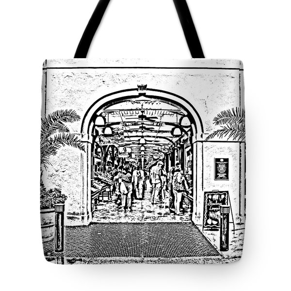 French Quarter French Market Entrance New Orleans Photocopy Digital Art Tote Bag by Shawn O'Brien