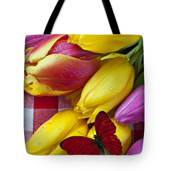 Fresh Tulips and Red Butterfly Tote Bag by Garry Gay