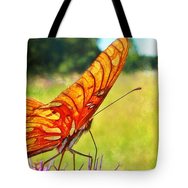 Fritillary On Ironweed Tote Bag by Judi Bagwell