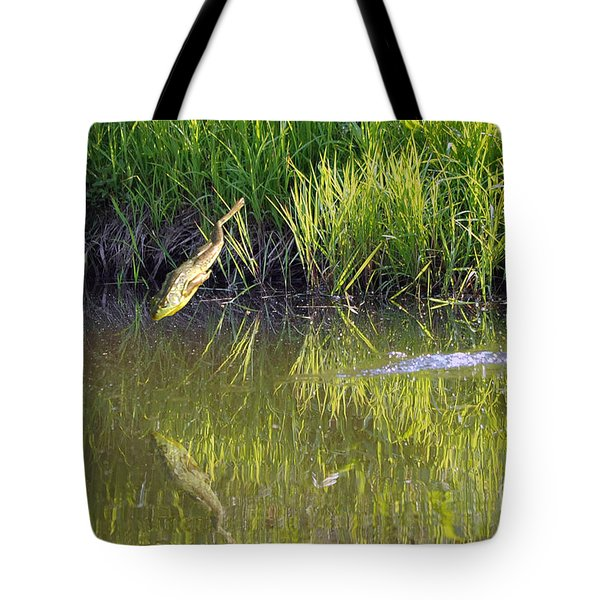 Frog Jumping In Water Tote Bag by Dan Friend