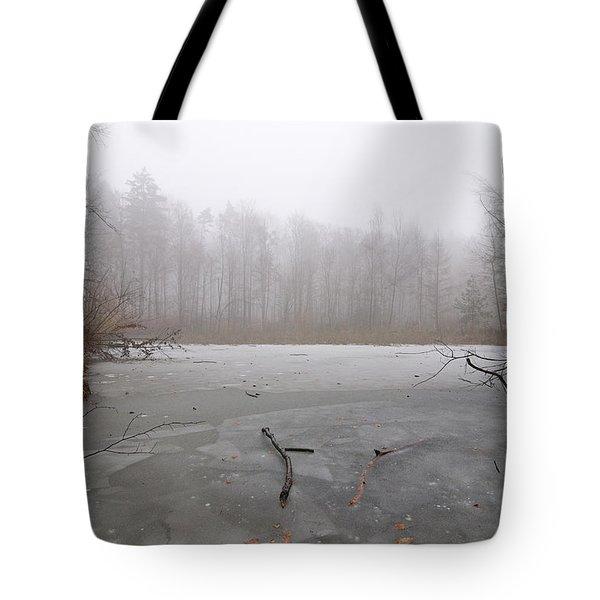 Frozen Lake In Winter Tote Bag by Matthias Hauser