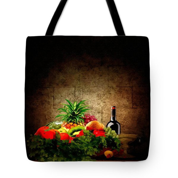Fruit and Wine Tote Bag by Lourry Legarde