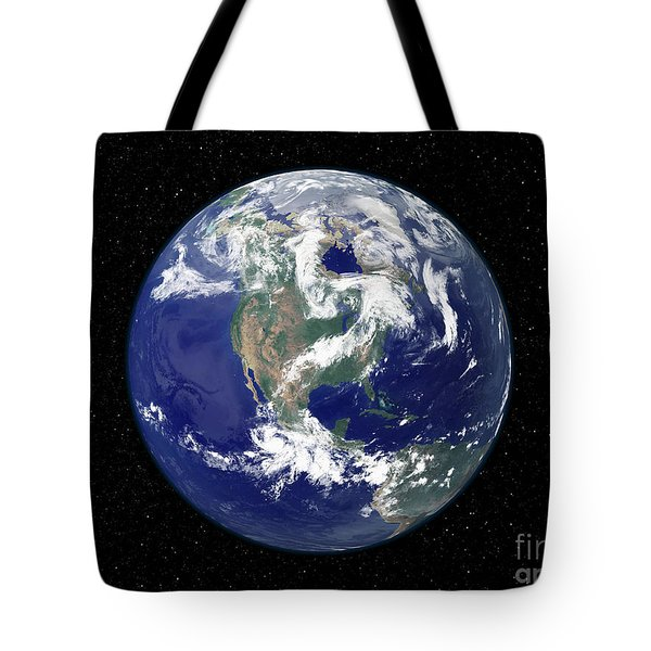 Fully Lit Earth Centered On North Tote Bag by Stocktrek Images