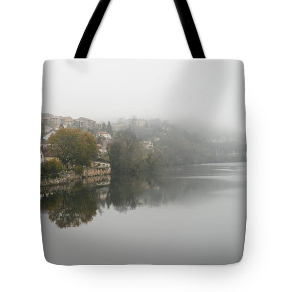 Fumel on a misty day Tote Bag by Nomad Art And  Design
