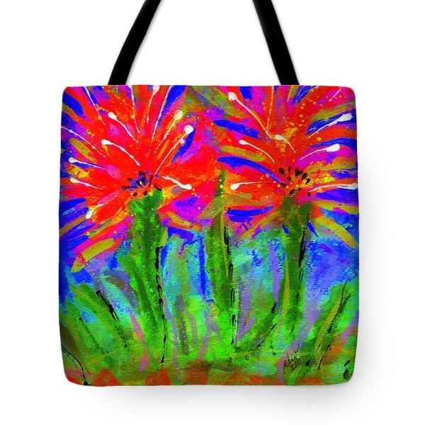 Funky Flower Towers Tote Bag by Angela L Walker