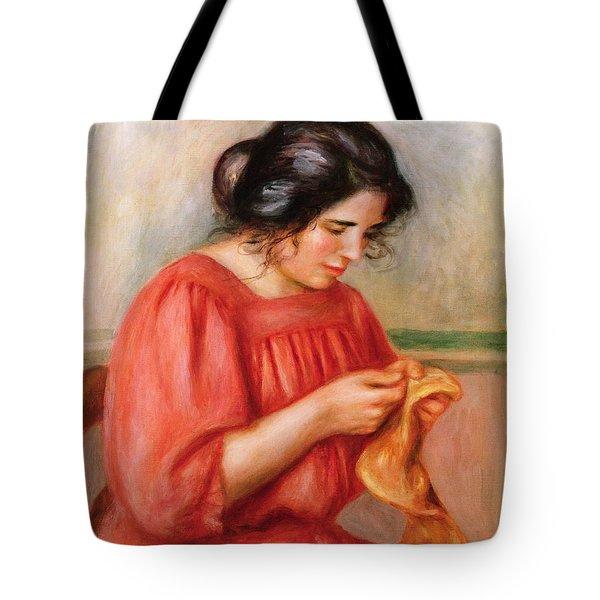 Gabrielle Darning Tote Bag by Pierre Auguste Renoir