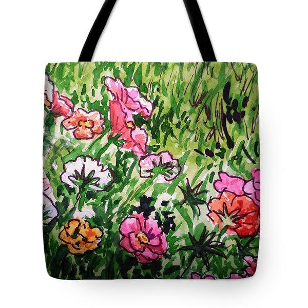 Garden Flowers Sketchbook Project Down My Street Tote Bag by Irina Sztukowski