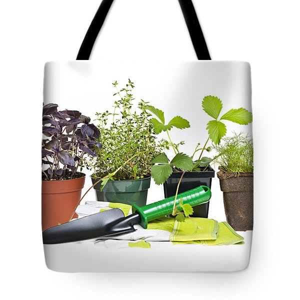 Gardening Tools And Plants Tote Bag by Elena Elisseeva