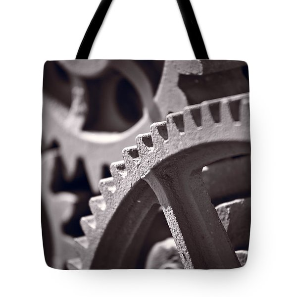 Gears Number 3 Tote Bag by Steve Gadomski