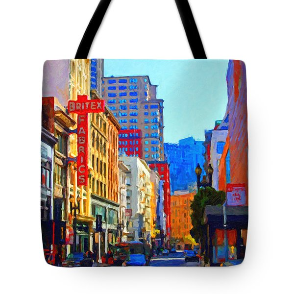 Geary Boulevard San Francisco Tote Bag by Wingsdomain Art and Photography