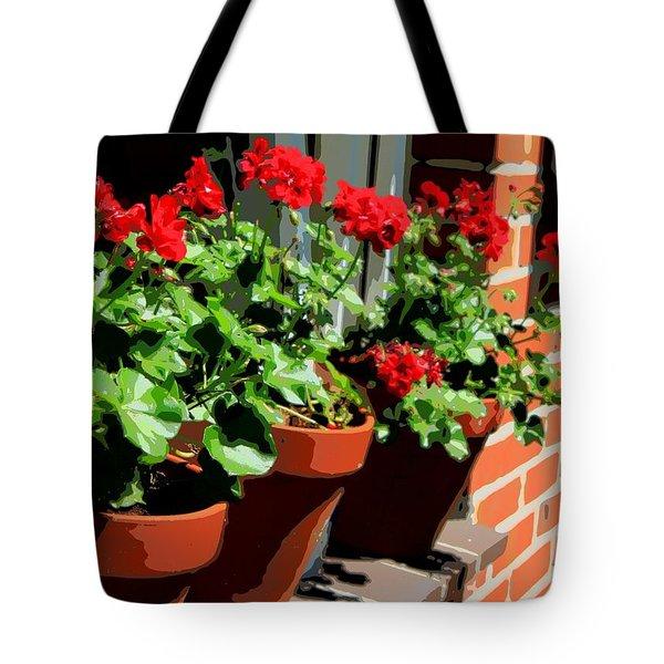 Geraniums in Germany Tote Bag by Carol Groenen