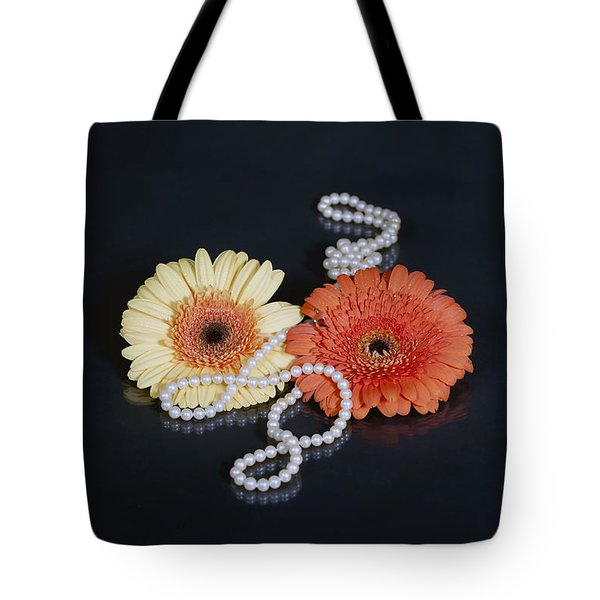 Gerberas With Pearls Tote Bag by Joana Kruse
