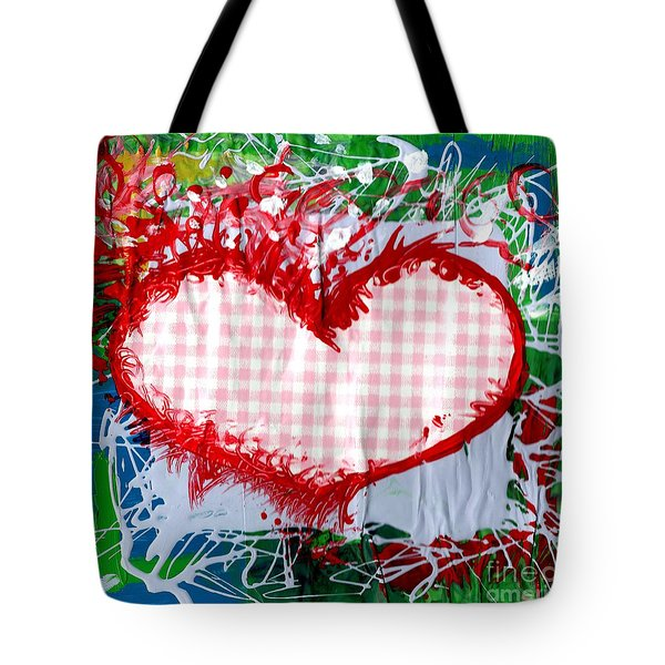 Gingham Crazy Heart Tote Bag by Genevieve Esson