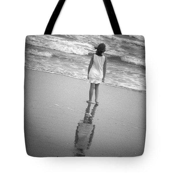 Girl By Ocean Tote Bag by Kelly Hazel