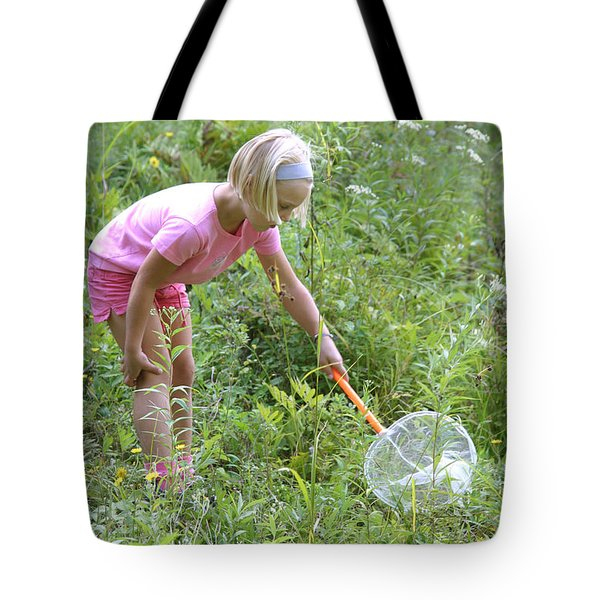 Girl Collects Insects In A Meadow Tote Bag by Ted Kinsman