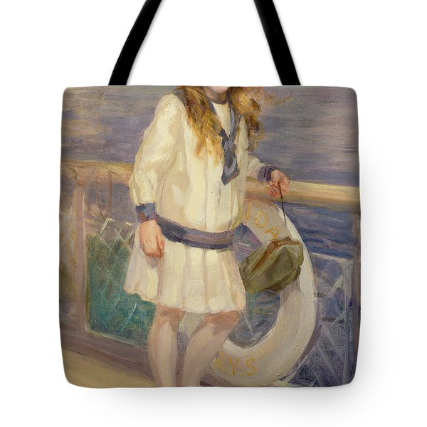 Girl In A Sailor Suit Tote Bag by Charles Sims