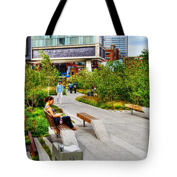 Girl Uninterrupted On The High Line Tote Bag by Randy Aveille