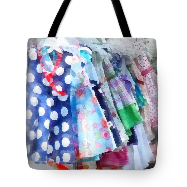 Girl's Dresses At Street Fair Tote Bag by Susan Savad