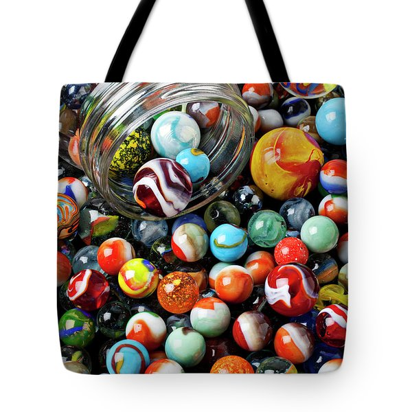 Glass jar and marbles Tote Bag by Garry Gay