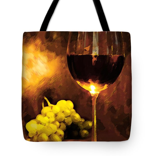 Glass Of Wine And Green Grapes By Candlelight Tote Bag by Elaine Plesser