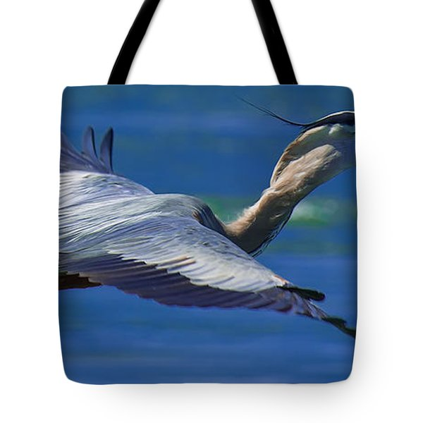 Gliding Great Blue Heron Tote Bag by Sebastian Musial